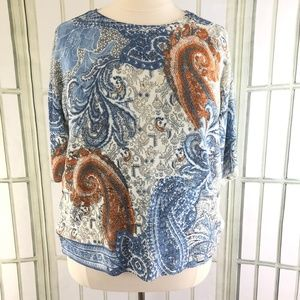 Chicos Blouse Paisley Soft Pullover Thin Sweater